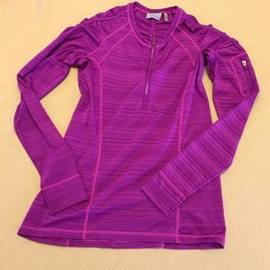 ATHLETA Long Sleeve Zip Front Pullover Top